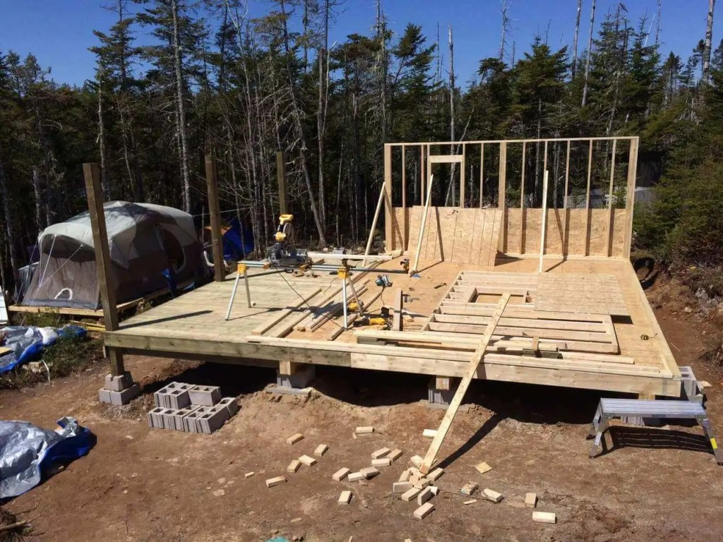 Framing-the-Off-grid-Cabin-Second-Wall-3