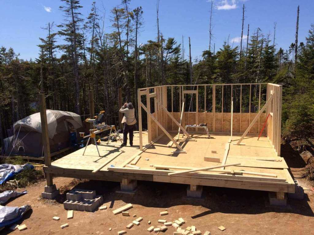 Framing-the-Off-grid-Cabin-Third-Wall-2