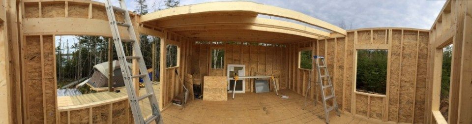 Panoramic view of the off grid cabin interior 1