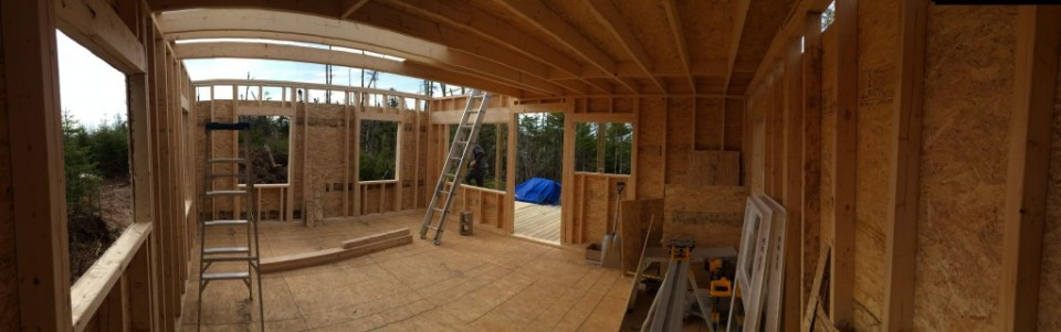 Panoramic view of the off grid cabin interior 2