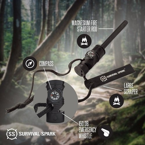 SurvivalSPARK Magnesium Survival Fire Starter with Compass and Whistle