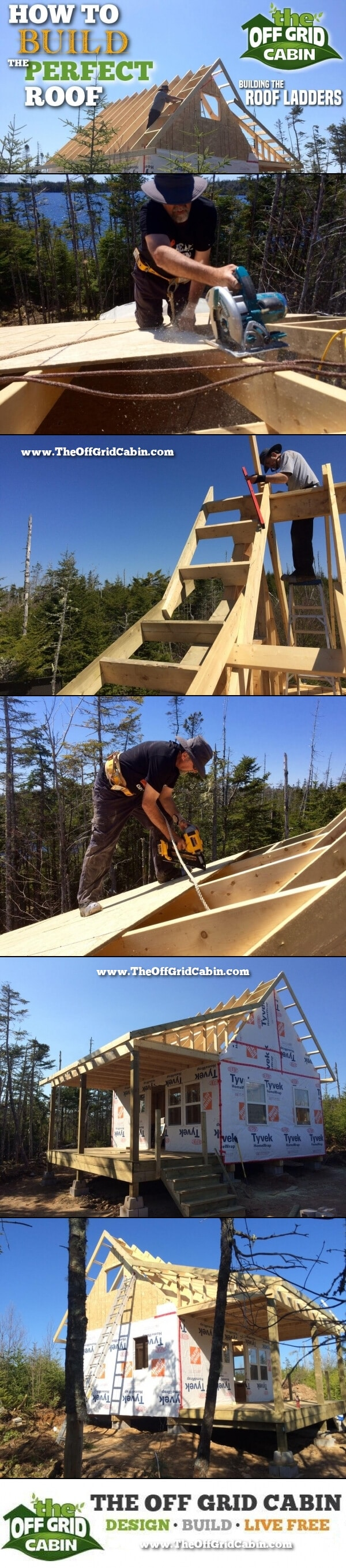 The Off Grid Cabin How To Build The Perfect Roof Rake Ladder Pinterest Image