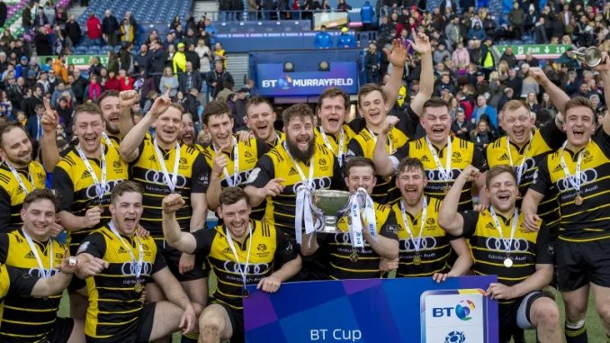 Melrose celebrate their cup success at Murrayfield