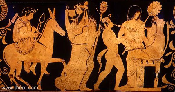 Return of Hephaestus to Olympus, with Dionysus & Hera | Greek vase, Athenian red figure skyphos