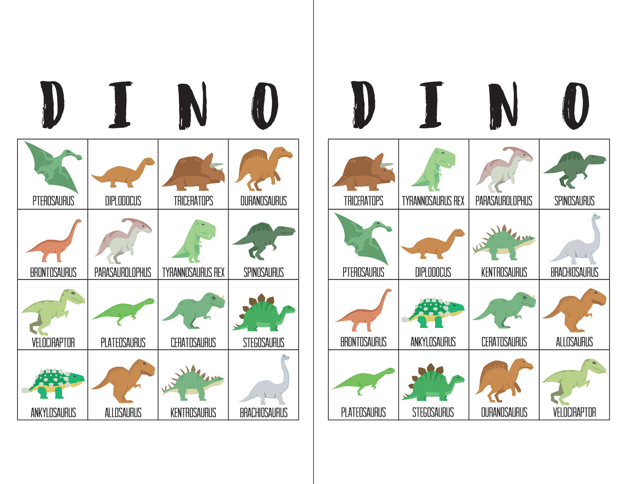 Dinosaur Bingo Cards The Okie Home