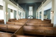 Lower level is partitioned into boxed seats in four sections, Salem Black River Presbyterian Church, Mayesville, South Carolina
