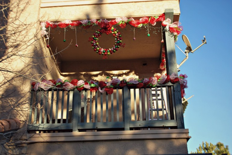 Installing Wreath and Hanging Ornaments