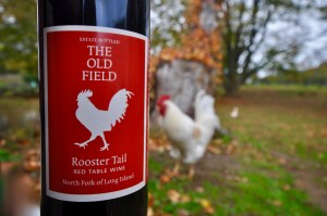 The Old Field, Rooster Tail Red Table Wine, Rooster, fall leaves, grass, trees, red wine