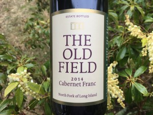 The Old Field, 2014 Cabernet Franc, The Old Field Vineyard, North Fork of Long Island, small white flowers, green leaves
