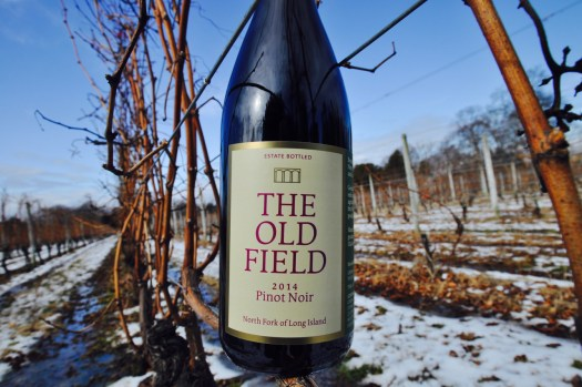 Bottle of 2014 Pinot Noir wine out in vineyards with snow on the ground.