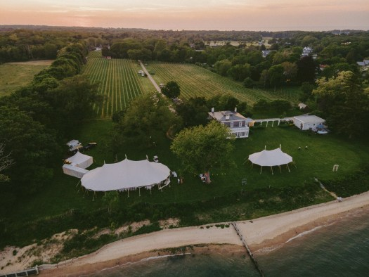 Ariel view of your wedding day with tents.