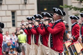Soldiers with the U.S. Army Old Guard Fife and Drum Corps perform during the National Independence Day Parade in Washington, D.C., July 4, 2017. The FDC members were joined by the Continental Color Guard, Honor Company, 3d U.S. Infantry Regiment (The Old Guard), and other military and civilian specialty units to celebrate America and its independence day. (U.S. Army photos by Sgt. Nicholas T. Holmes)