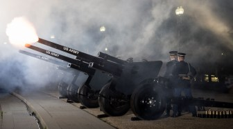 U.S. Army Soldiers from Presidential Salute Battery, 1st Battalion, 3d U.S. Infantry Regiment (The Old Guard), provide cannon support during the 1812 Overture during A Capitol Fourth 2017 in Washington, District of Columbia on July 4, 2017. In its 37th year, the event allowed 3d U.S. Infantry Regiment (The Old Guard) Soldiers to join specialty, music and entertainment groups in a celebration to honor America's birthday. (U.S. Army photos by Sgt. George Huley)