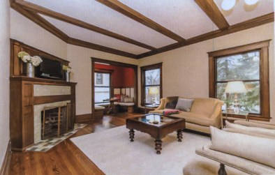 beamed ceiling and inglenook