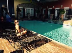 Hannah poolside