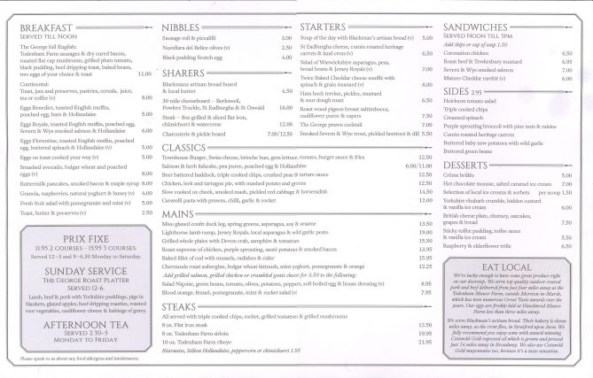 The new menu at The George Townhouse reataurant.