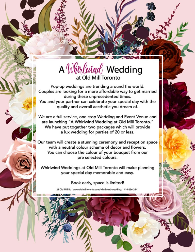 Whirlwind weddings at The Old Mill Toronto