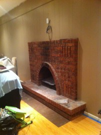 white-washed fireplace -- before