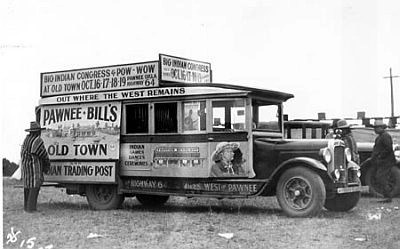 Pawnee Bill's advertising truck, Oklahoma Territory, ca. 1920s