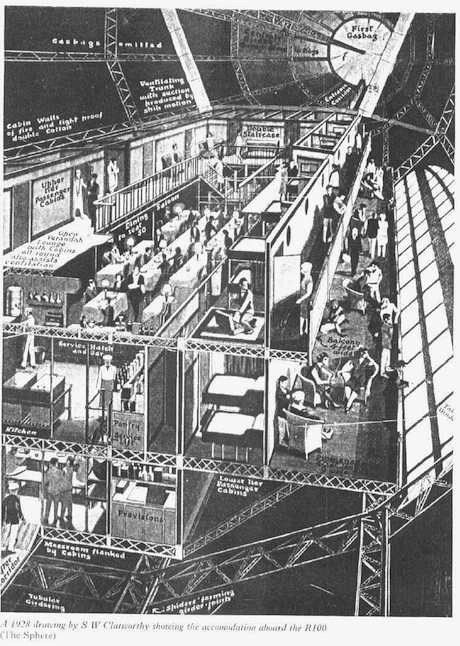 cutaway of the passenger area on the R101