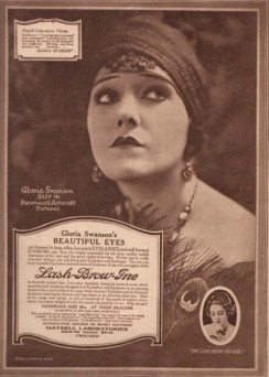 Tom Lyle Williams also captured the spirit of Art Deco, in his exquisite, Lash-Brow-Ine, and Maybelline Ads in the 1920s. This one features Gloria Swanson