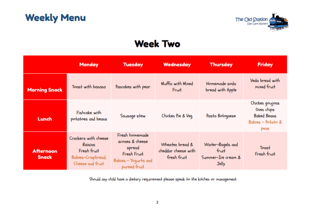 The Old Station Nursery, Weekly menu
