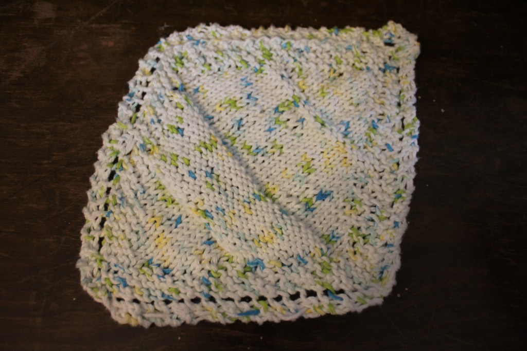Learning to knit a dish cloth