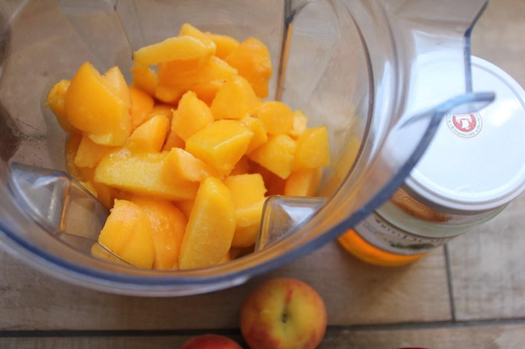 Blending frozen peaches