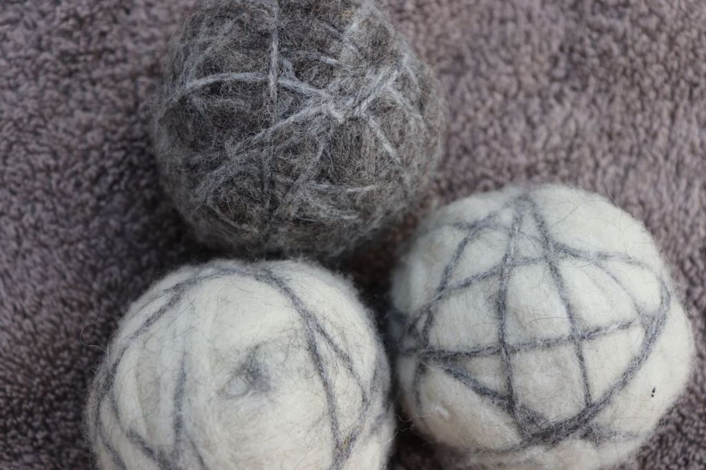 Three handmade wool dryer balls