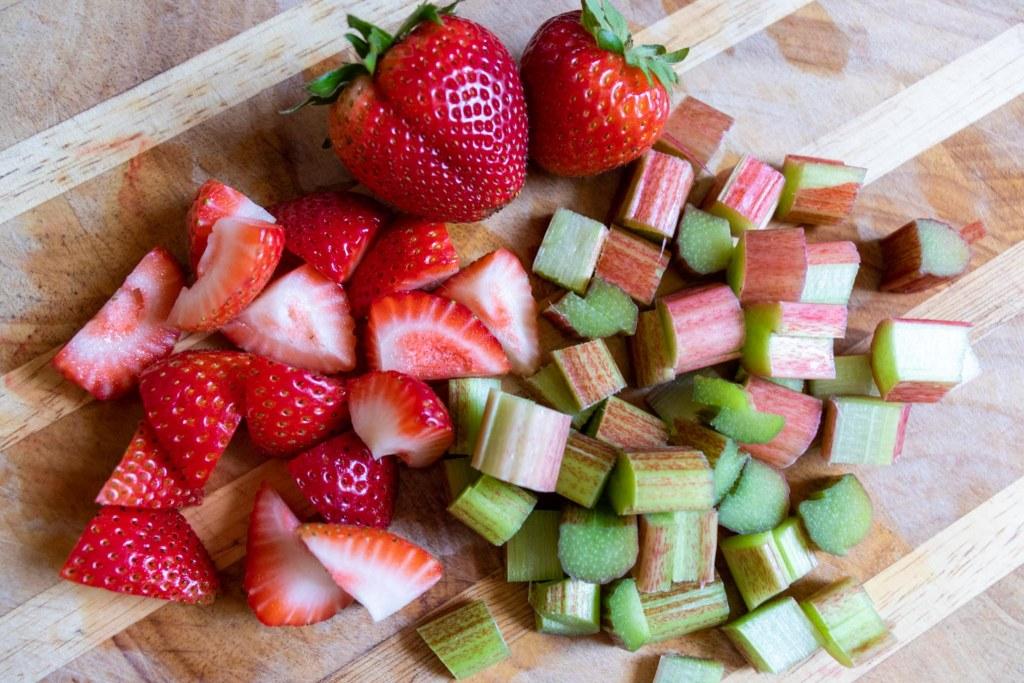 chopped strawberries and rhubarb