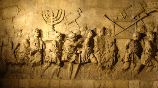 The Arch of Titus commemorates the desolation of Jerusalem and the temple by the Roman army