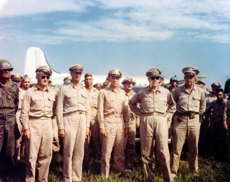 GOA MacArthur and Staff at Atsugi Naval Air Facility, 30AUG45