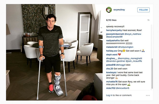 In this image released Monday July 6, 2015 by world number one golfer Rory Mcilroy shows him as he poses on crutches and with his left leg in a medical support. McIlroy  ruptured a ligament in his left ankle while playing soccer less than two weeks before the start of his British Open title defense. The Northern Irish golfer gave no indication how long he would be out in the announcement Monday July 6, 2015 on his Instagram account, only saying that he is