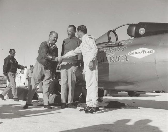 Craig being congratulated after setting his 468 mph record on Oct. 13, 1964. (William A. Moore photo)
