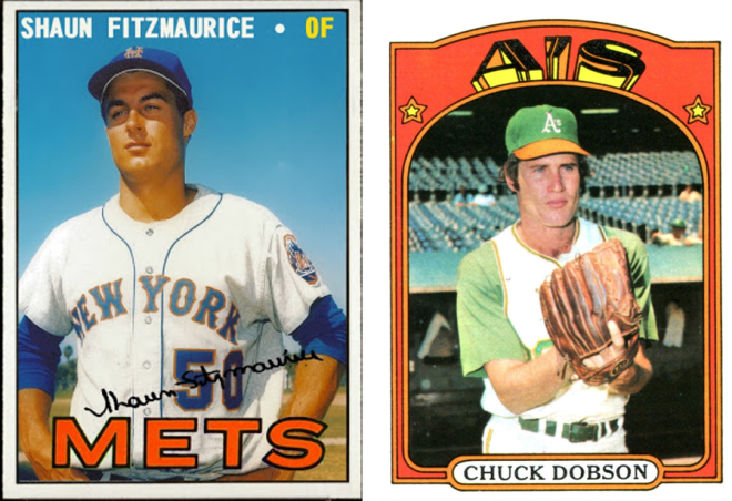 The baseball cards of Shaun Fitzmaurice and Chuck Dobson, who played in the Olympic baseball exhibition at the Tokyo Games in 1964.