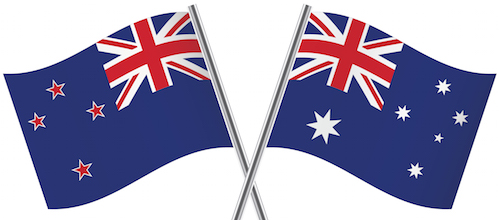 Australian and New Zealand flags