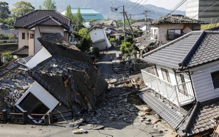 Houses are seen destroyed in Kumamoto_Telegraph
