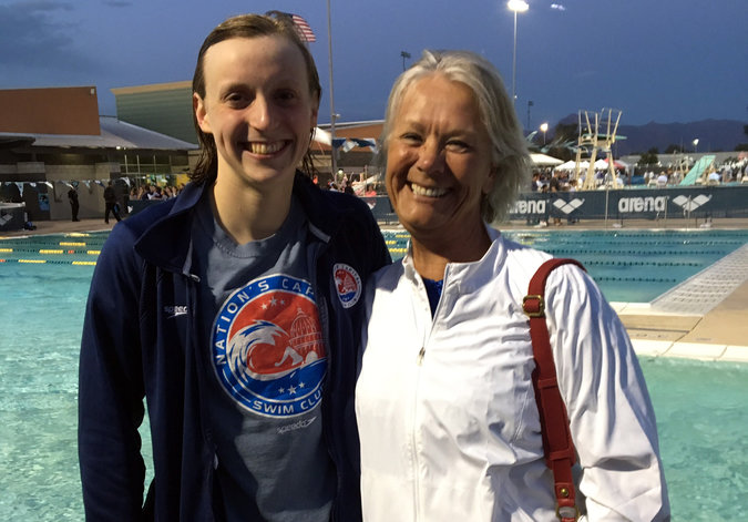 Katie Ledecky and Debbie Meyer