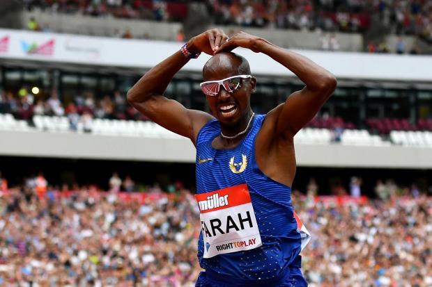 Mo Farah after his 5k victory at the london Anniversary Games