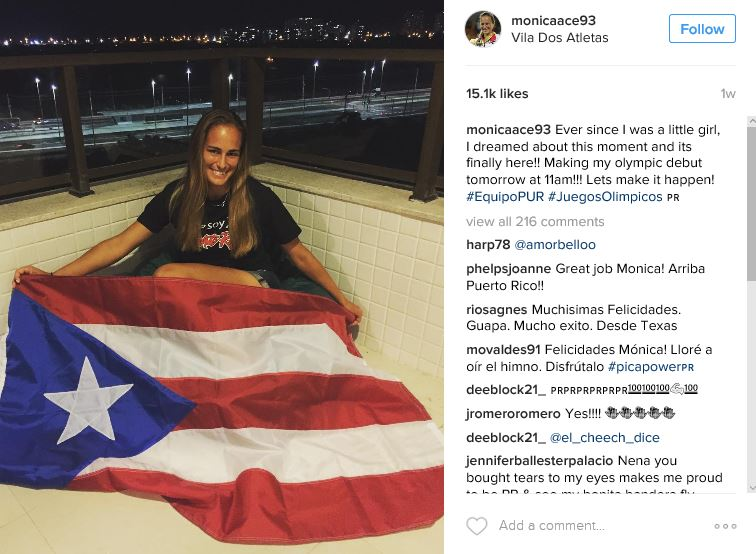 Monica Puig with Flag the Night Before the Finals