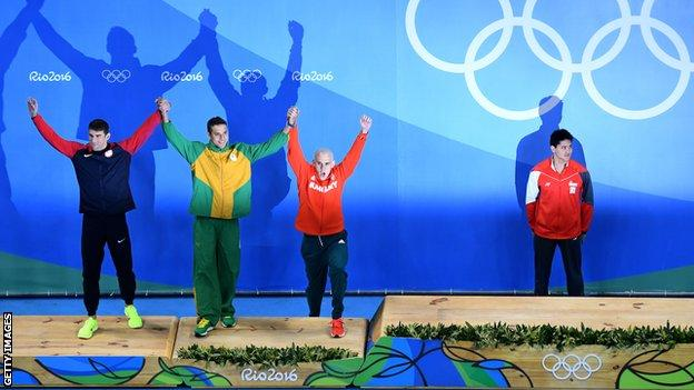 Phelps Le Clos and Cseh celebrate silver
