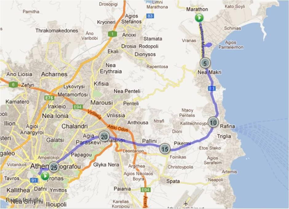 marathon to athens map