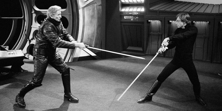 Bob Anderson and Mark Hamill training for ROTJ