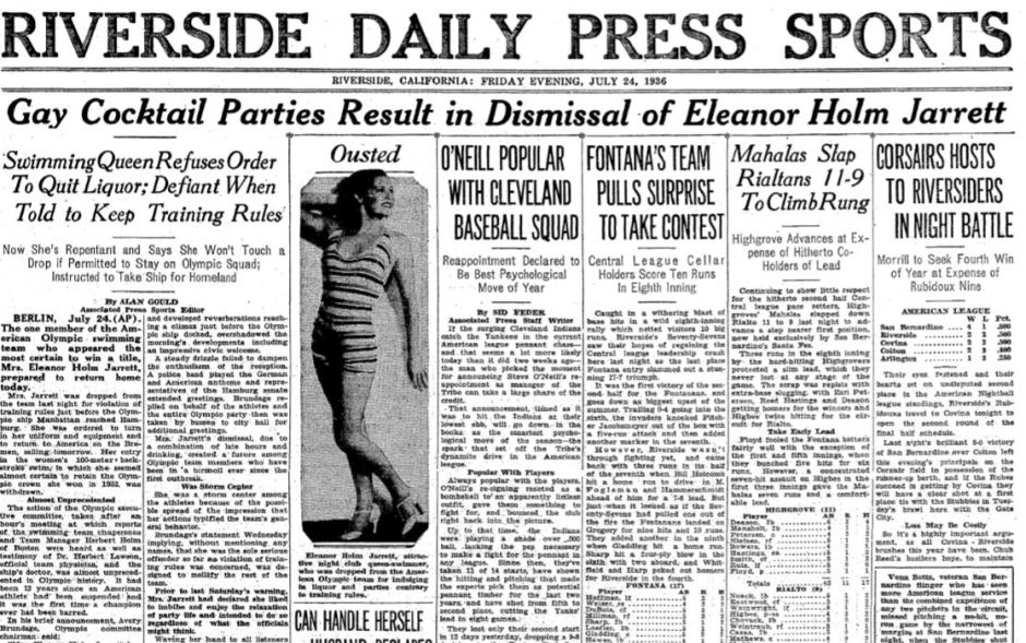 Eleanor Holm headline news
