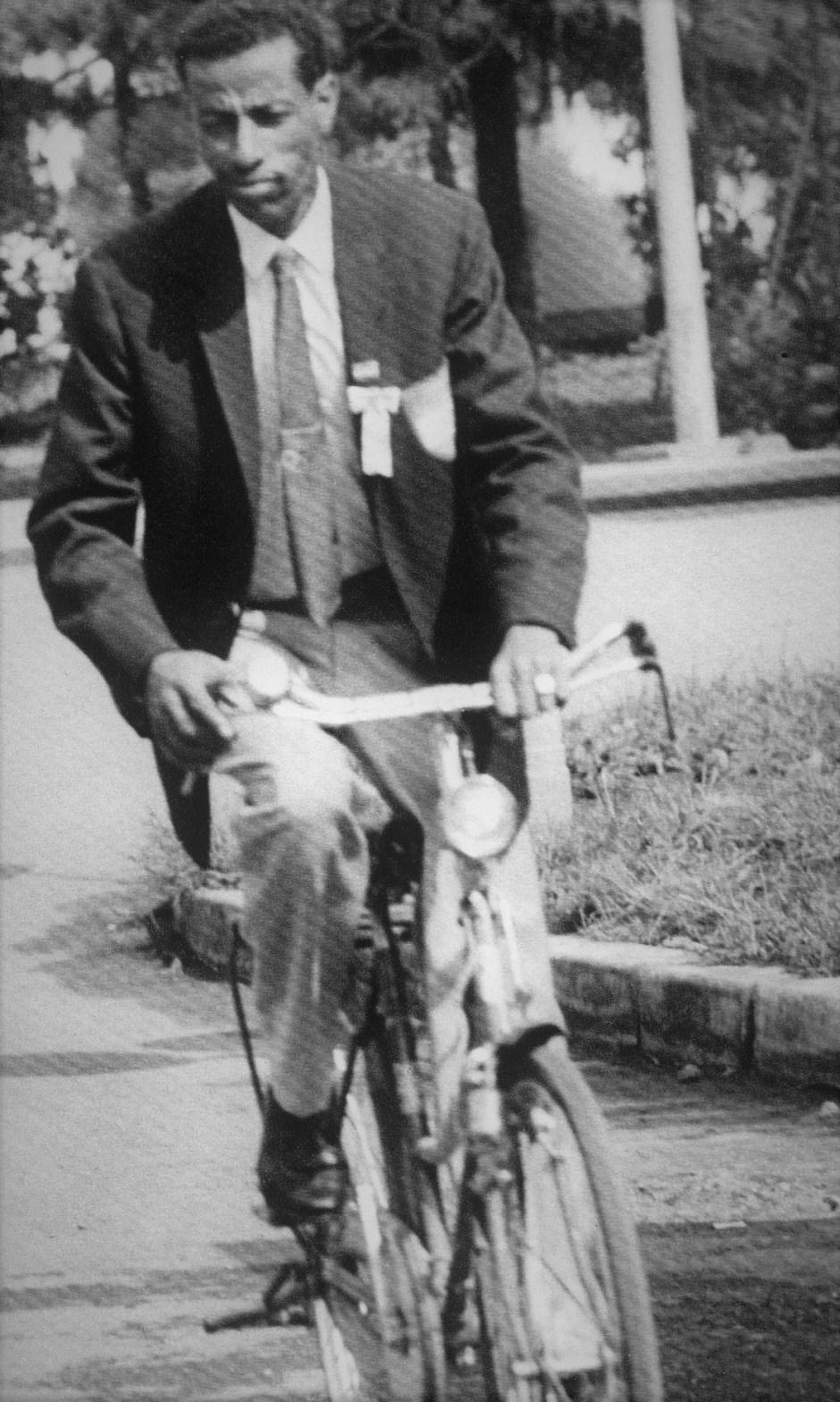 Abebe Bikila on a bicycle_Bi to Chikara