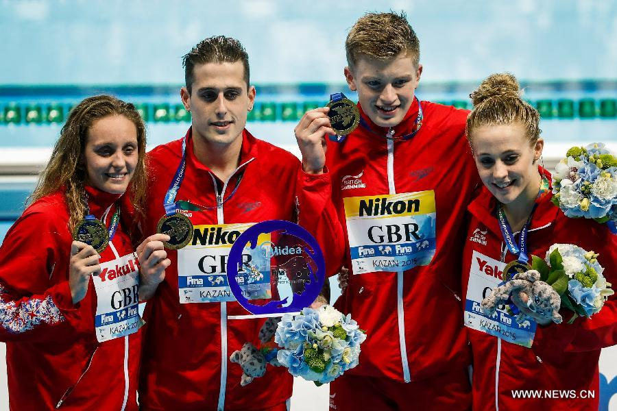 Winners of the first FINA 4x100 mixed medley relay- Great Britain