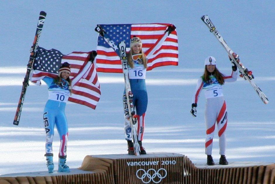 Julia Mancuso, Lindsey Vonn, Elisabeth Gorgi on the Downhill Medal Podium at the 2010 Vancouver Winter Olympics