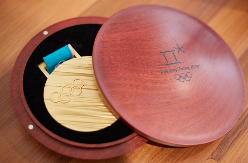 PyeongChang Olympic gold medal and case