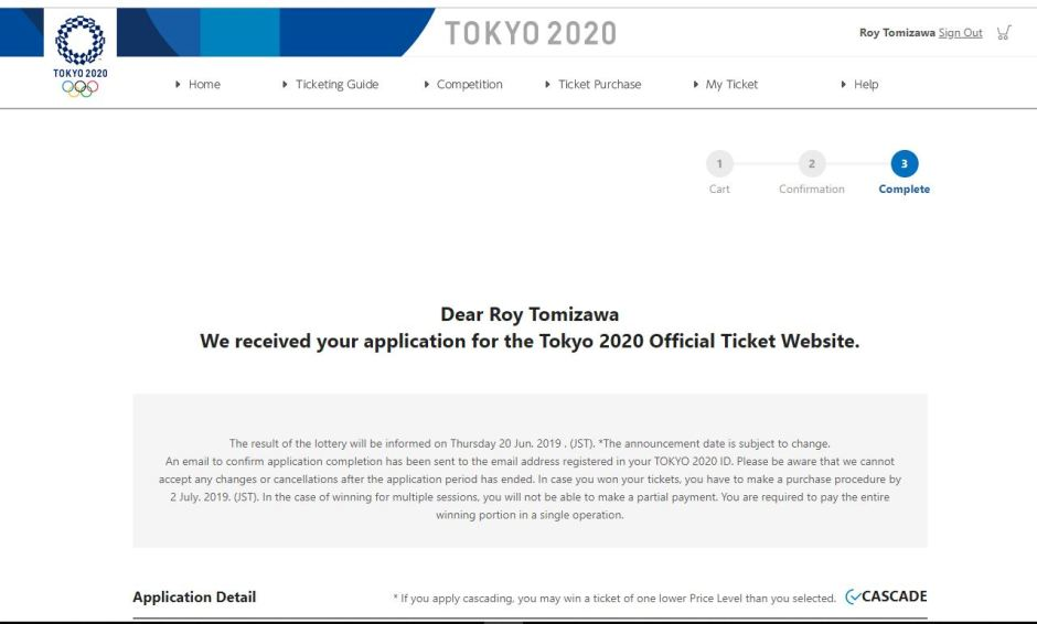 Tokyo2020 tickets lottery application completed