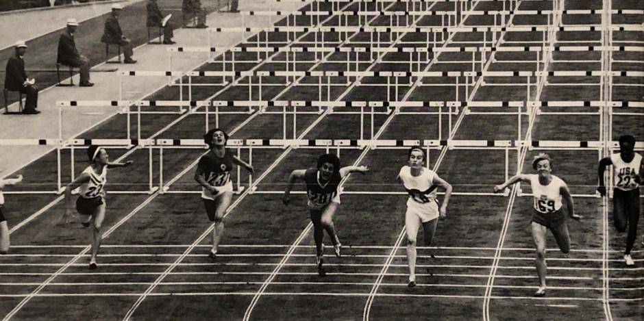 Karin Balzer wins 80 meter hurdle